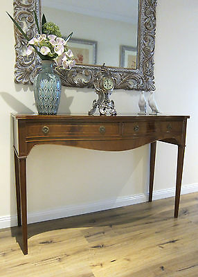 Vintage Sheraton style bow fronted hall table