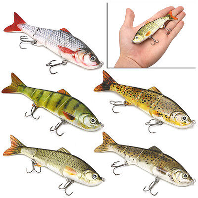 4-Segement Pike Lure With Mouth Swimbait Lure Bait Fishing Tackle 12cm 17g New