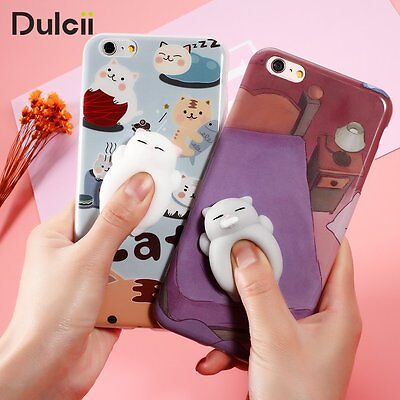 3D Squishy Lazy Cat Cute Soft Stress Reliever Toy for phone LG Samsung Cover Cas