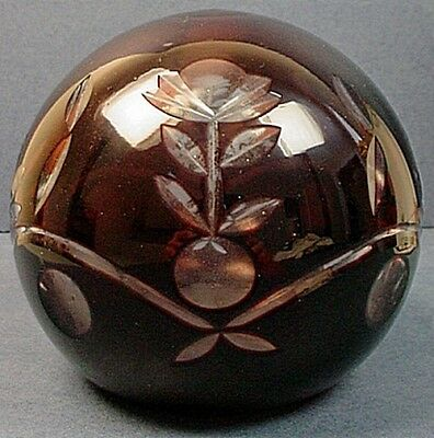 Large Antique Bohemian Ruby Red Cut To Clear Art Glass Paperweight