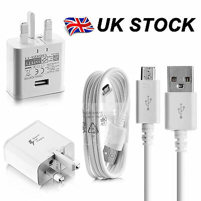100% Fast Charger Plug & Cable For Samsung Galaxy S7 S6 Edge Note 4 5 J5 J3 A5