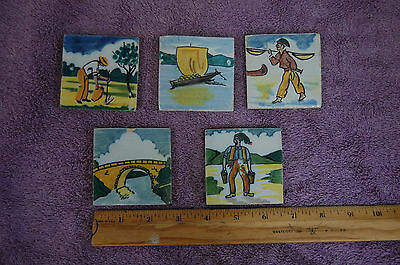 "5 Tiles Sant'Ana Portugal - early 1950's - 2.5"" sq. - peasants - hand painted"