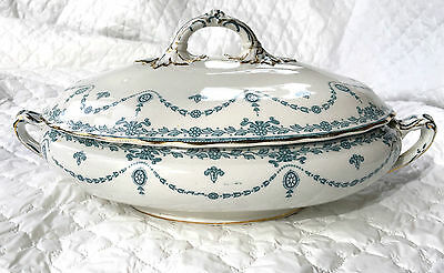 "Art Noveau Soup Tureen ""Sheraton"" by Wheaton Ware - turquoise blue/gold (684)"