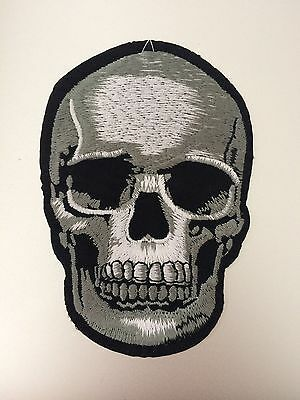 Grey Skull Patch - Iron On Badge Embroidered Motif Biker Gray - 114