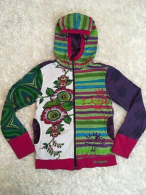 Desigual 7/8 Jacket Embroidered Girls Hoodie Floral Full Zip Cotton Long Sleeve