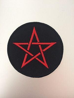 Red Pentagram Patch - Iron On Badge Embroidered Motif - Emo Goth Metal Rock #119