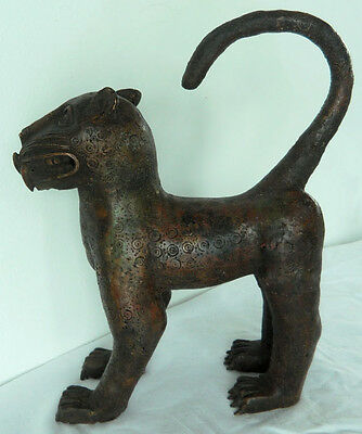very big Benin Bronze Leopard 16 inch old Germany collection
