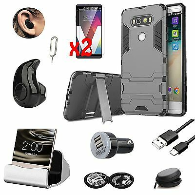 9 in 1 Black Kickstand Case Cover Charger Bluetooth Earphones Kit For LG V20