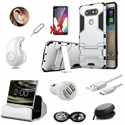 9 in 1 Accessory Bundle Case Cover Dock Charger Bluetooth Earphones For LG V20