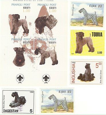 KERRY BLUE TERRIER *Beautiful International Postage Stamps *Great Gift*