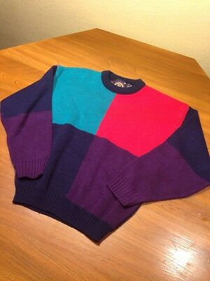 Vintage Youth 20 New Era Color Block Sweater Red Aqua Purple Navy Acrylic Usa