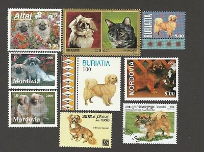 TIBETAN SPANIEL * 9 Unique International Dog Postage Stamps *Great Gift*