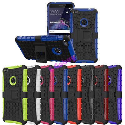 Rugged Armor Hybrid Rubber Stand Soft Case Cover for Huawei P8 lite (2017)