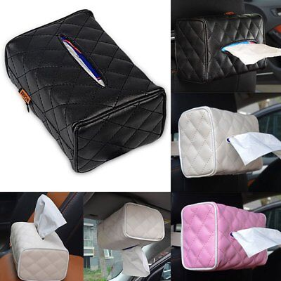 PU Leather Tissue Box Cover Pumping Paper Hotel Car Home Napkin Holder Case New
