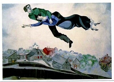 Postcard / Lovers Above the Town / Marc Chagall