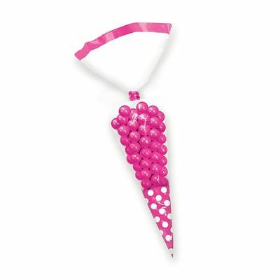 10pk Candy Buffet Cone Polka Dots Bags Bright Pink Birthday Wedding Favour