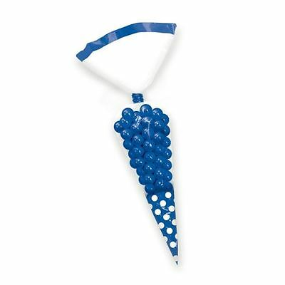 10pk Candy Buffet Cone Polka Dots Bags Royal Blue Birthday Wedding Favour