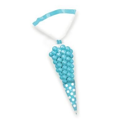 10pk Candy Buffet Cone Polka Dots Bags Caribbean Blue Birthday Wedding Favour