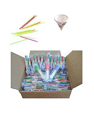 Perfect Stix Snow Cone Cup Kit - 50ct Snow Cone Kit with 50 Cups, 50 Neon Straws