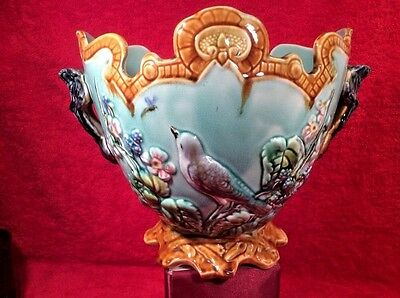 Beautiful Antique French Onnaing Majolica Cache Pot Planter Jardiniere c1800's