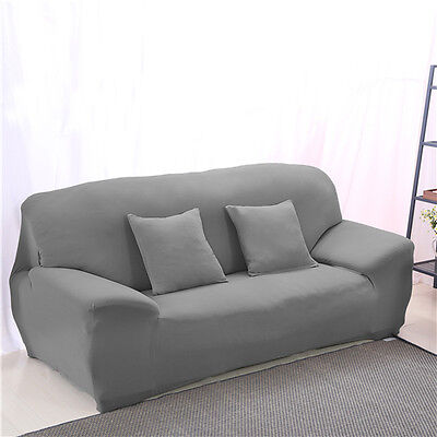 Grey Spandex Stretch Fitted Sofas Covers Pet Slip Cover OukL 4 seater Home Couch