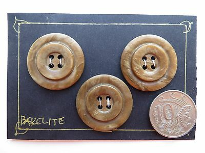1930 Vintage Med Unisex Deco 'Circles' Brown Coat Dress Collectible Buttons-28mm