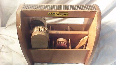 Vintage Kiwi Groomer Wooden Shoe Shine Box