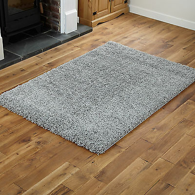 EXTRA LARGE SILVER GREY 200x290cm NEW QUALITY MODERN THICK SOFT SHAGGY PILE RUGS