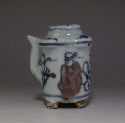Old Chinese Underglaze red Blue and White Porcelain Water Dropper H1102