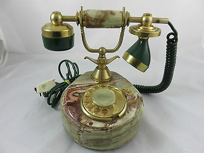 Vintage Onix Telcor Marble 18K Gold Plated Telephone Made in Italy