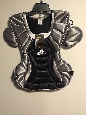 """Nwt Adidas Pro Series Black Silver Chest Protector Adult 16"""" Catcher's Gear"""