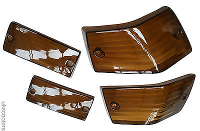 Vespa Set Of 4 Indicator Lens Brown/smoke Rear And Front New Item