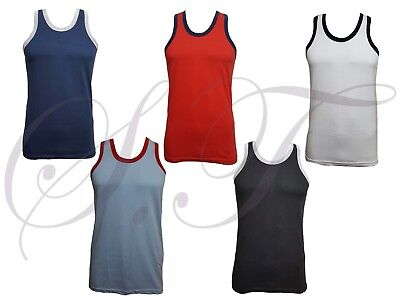 Men's Muscle Vest Urban Gym Top Coloured Piping Sleeveless 100% Cotton  S / 2XL