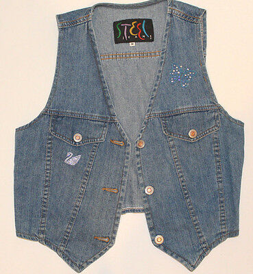 Vtg 80s STEEL JEANS Costume Party Jean Denim Sleeveless Vest Women Jr M Medium