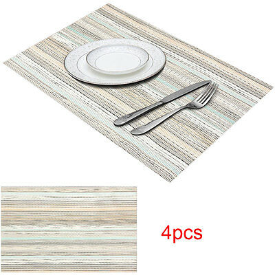 New Set of 4 Vinyl Dining Table Place Mats Placemats Pad Weave Woven Effect