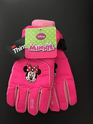 NEW Disney's Girls 4-16 Minnie Mouse Pink Adjustable Insulated Winter Ski Gloves