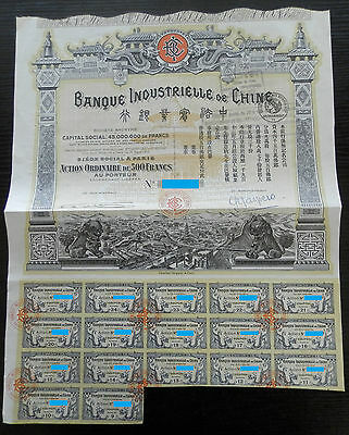 China   Banque Industrielle Chine 1913 -45 000 000 Loan,  Certificate bond