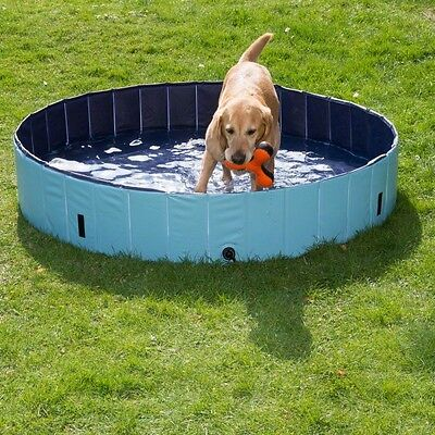 Dog Pool Paddling Durable Plastic Swimming Outdoor Garden Blue - Small Size