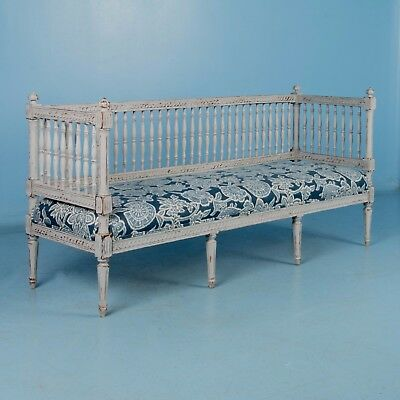 Antique 19th Century Swedish Gustavian Bench Painted Gray