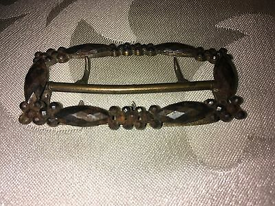 Antique Steel Shoe Buckle of Rectangular Shape With Clusters of Globular Shapes