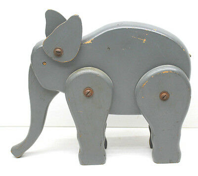 "1950s Vintage Jointed Wood Elephant Americana Toy 7""x10"" Factory Patina USA Made"
