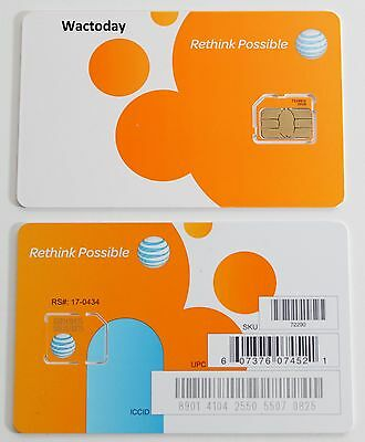 AT&T FACTORY Micro 4G LTE sim card.  NEW UNACTIVATE.