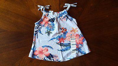 New Girls Old Navy Blue Tropical Floral Tank Top Shirt 12-18 Months