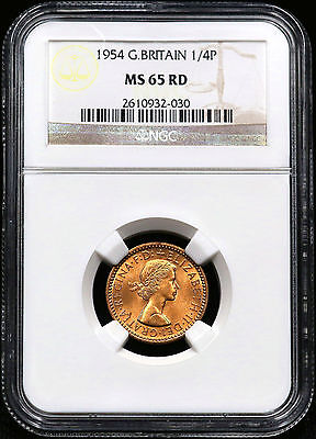 1954 Ngc Ms-65 Rd One Farthing Great Britain