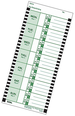 Lathem Weekly Thermal Print Time Cards, Single Sided, for Lathem 800P Time Clock