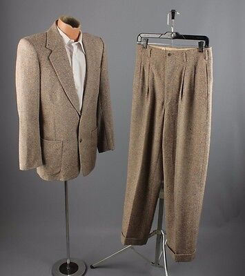 Vtg 50s Men's Penneys Rainbow Tweed Wool Suit Jacket sz S or M Pants 29x29 #2414