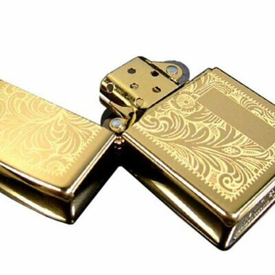 Zippo High Polish Brass Venetian Design Lighter, Genuine USA Windproof #352B