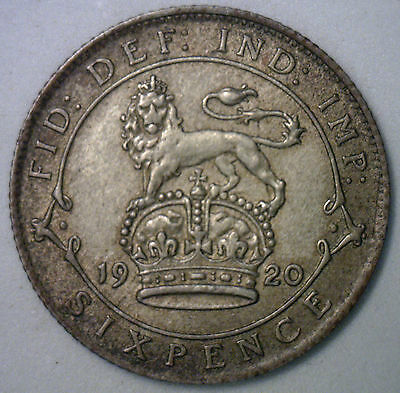 1920 UK Silver 6 Pence Sixpence Great Britain UK Tanner Coin XF