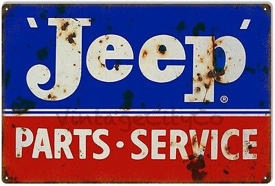 """Antique Style """" Jeep Parts / Service """"  Advertising Metal Sign - Rusted"""