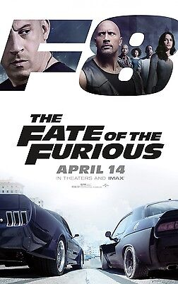 """FATE & THE FURIOUS 2017 Original DS 2 Sided 27x40"""" Movie Poster Diesel D Johnson"""